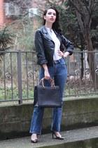 vintage bag Gucci bag - vintage jeans Levis jeans - metallic Bershka heels