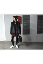 white Reebok sneakers - charcoal gray vintage coat