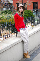red Zara sweater - off white slouchy pants - leopard Zara blouse