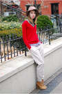 Red-zara-sweater-zara-blouse-off-white-pants-camel-zara-wedges