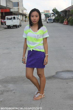 ivory sandals - chartreuse stripes Folded and Hung shirt - purple skirt