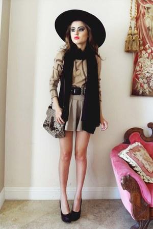 Gucci scarf - Zara hat - Ralph Lauren sweater - Gucci bag - romwe shorts
