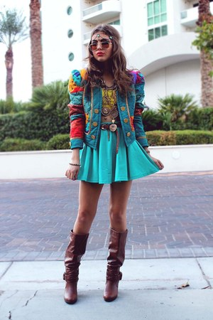 teal Tunnel Vision jacket - tawny Pink &amp; Pepper boots