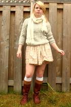 beige grandma sweater - orange Hand Made skirt - brown Urbanogcom boots