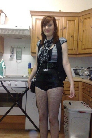 black Topshop shorts - black new look vest - black Asda coat - black dont know t