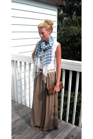 maxi Forever 21 skirt - cowl neck Gap shirt - striped Forever 21 scarf