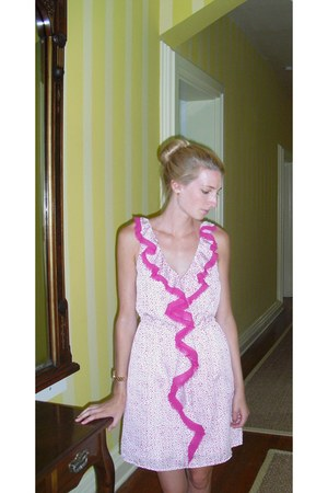 pink ruffle Loft dress
