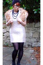 silver River Island dress - black vintage hat - gold H&M scarf