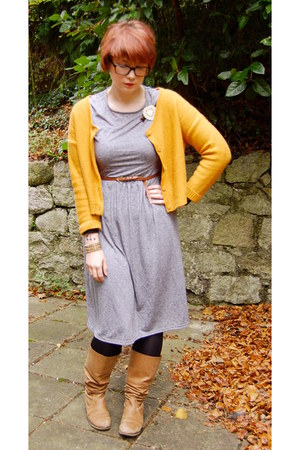 silver Topshop dress - camel Topshop boots - burnt orange Urban Outfitters belt
