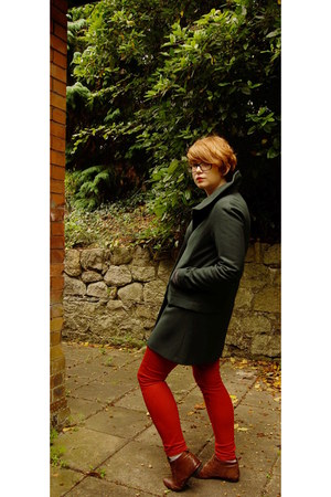 green Zara coat - burnt orange Aldo shoes - red next jeans