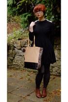 black tba dress - charcoal gray H&M tights - nude asos bag
