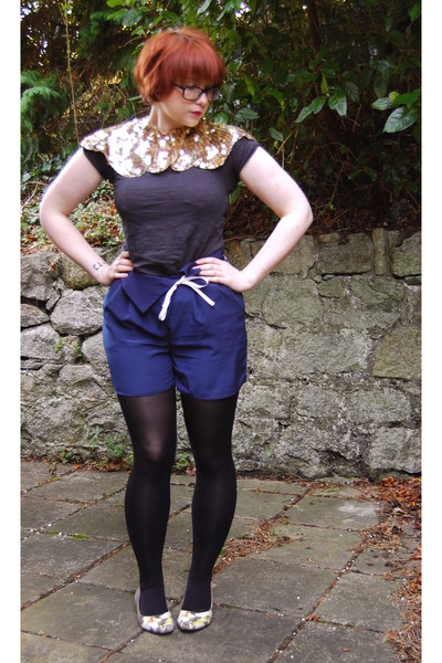 gold Primark cape - black Irregular Choice shoes - navy Topshop shorts