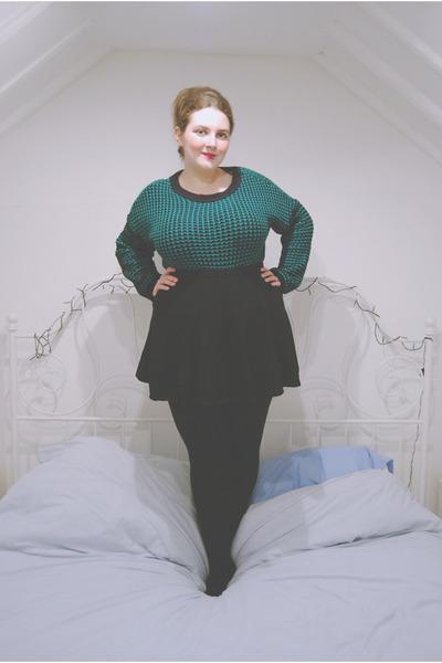teal dogtooth Primark sweater - black skater Topshop skirt