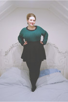 teal dogtooth Primark sweater - black skater Topshop skirt