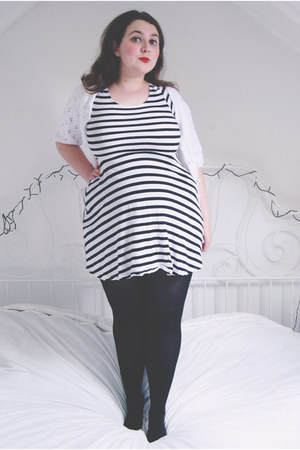 black stripes Primark dress - white knit vintage cardigan