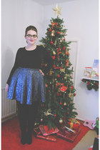 black suede Kurt Geiger boots - navy sequined Topshop skirt