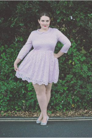 periwinkle lace Topshop dress - silver ballet flats Primark flats