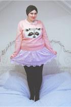 periwinkle lace Topshop dress - bubble gum racoon Emma Cook for Topshop sweater