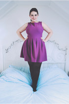 amethyst skater Topshop dress - black opaque Primark tights