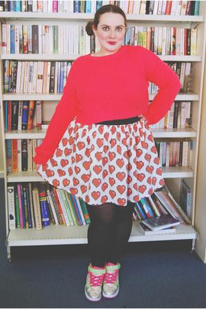 hot pink crop Topshop sweater - white heart Go Follow Rabbits skirt