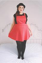 red pinafore River Island skirt - black bowler hat Ebay hat