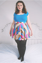 hot pink skater Topshop skirt - blue basic Peacocks top
