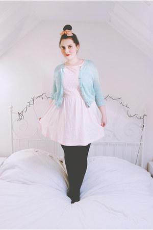 light pink sundress Primark dress - aquamarine crochet Primark cardigan