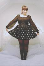 black chiffon Boohoo bodysuit - white polkadot H&M skirt