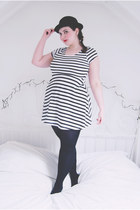 black bowler hat Ebay hat - white striped Primark dress