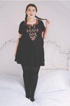 black embroidered charity shop top - black skater Topshop skirt
