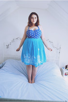 blue polkadot Peacocks top - sky blue embroidered vintage skirt
