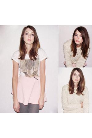 white H&M t-shirt - light pink American Apparel skirt - ivory Aran Jumper jumper