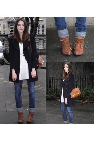 white Topshop dress - navy Zara coat - navy Topshop jeans