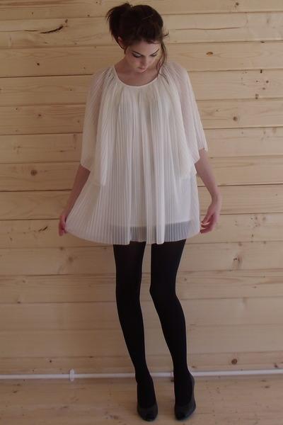white Topshop dress - black M&S tights - black Topshop shoes