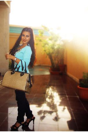 aquamarine List cardigan - dark brown Forever 21 top - black Zara pants - new lo
