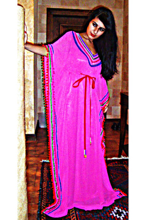 hot pink chiffon self-made dress