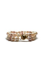 Double Row Of Colored Pearls With 14K Gold Detailing