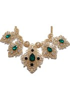 Intricate Golden Necklace With Emerald Crystals