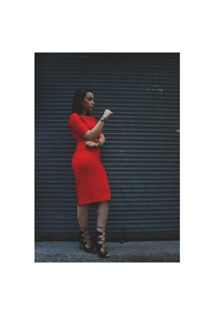 red midi Zara dress - black peplum Forever 21 jacket