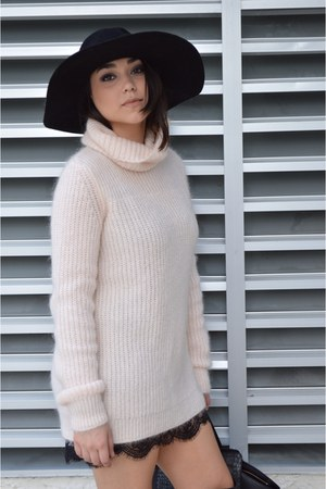 turtleneck Zara sweater - light pink Zara boots - black boots