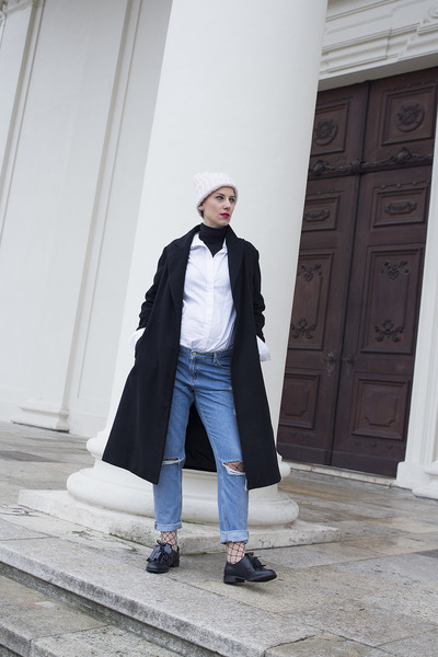 shein coat - Primark jeans - H&M shirt