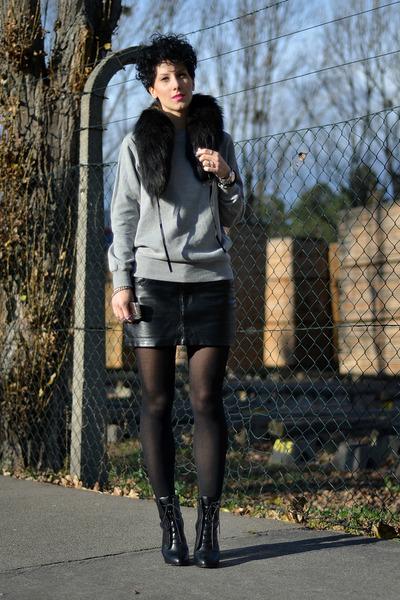 asos boots - H&M skirt - New Yorker sweatshirt