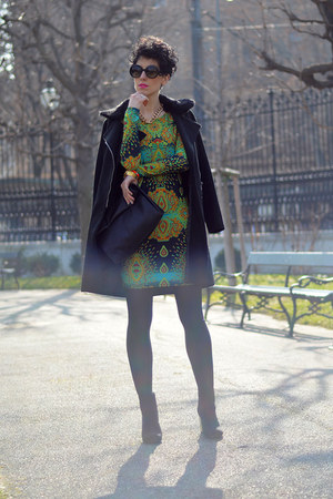 AX Paris dress - Sheinside coat - zeroUV sunglasses