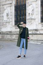 zaful coat - H&M shoes - Bershka jeans
