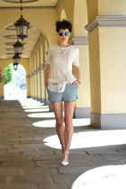H&M Trend blouse - Zara shoes - Zara bag - H&M Trend shorts - zeroUV sunglasses