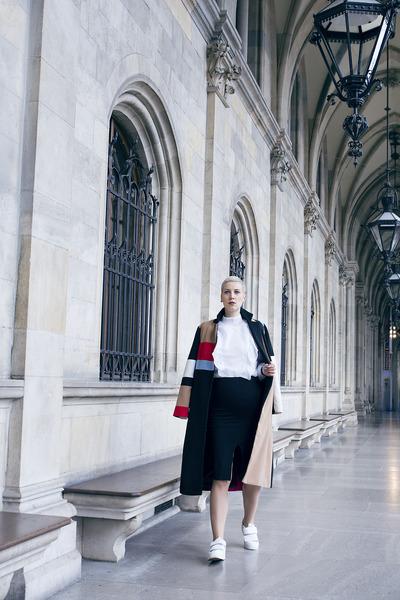 H&M skirt - H&M shoes - Sheinside coat