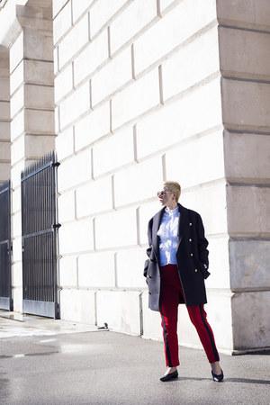 Balmain coat - H&M blouse - Zara pants