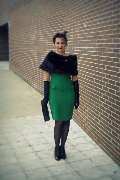 green Dorothy Perkins dress - dark brown Miss Sixty scarf - black BLANCO gloves