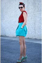 Sfera scarf - aquamarine Irregular Choice heels - turquoise blue Zara skirt