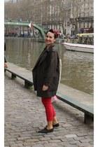 red Pimkie jeans - dark green Mango coat - red Sfera scarf